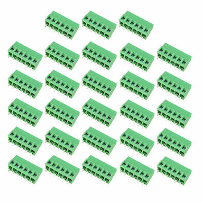25Pcs AC300V 10A 5mm Pitch 6P Flat Angle Needle Seat Insert-In PCB Terminal