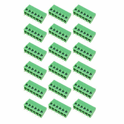 15Pcs AC300V 10A 5mm Pitch 6P Flat Angle Needle Seat Insert-In PCB Terminal