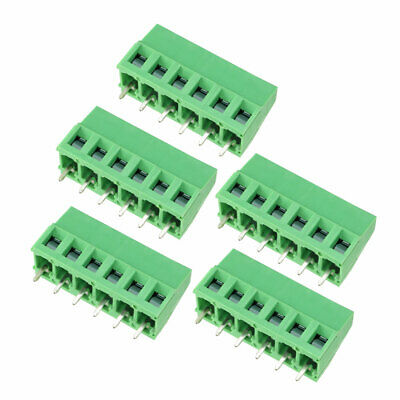 5Pcs AC300V 10A 5mm Pitch 6P Flat Angle Needle Seat Insert-In PCB Terminal