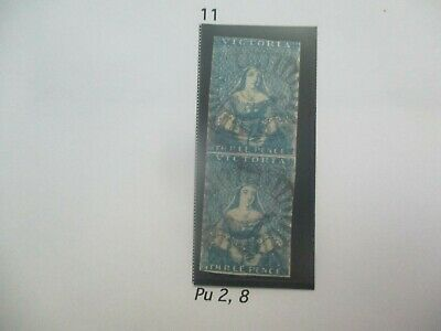 Victoria Stamps: Hams Printing Dull 2d Blue Pair Used   - Rare Item     (a126)