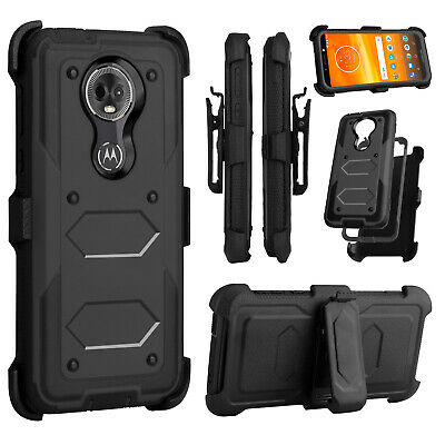 For Motorola Moto G7 Power / G7 Supra Shockproof Case With Stand Belt Clip Cover