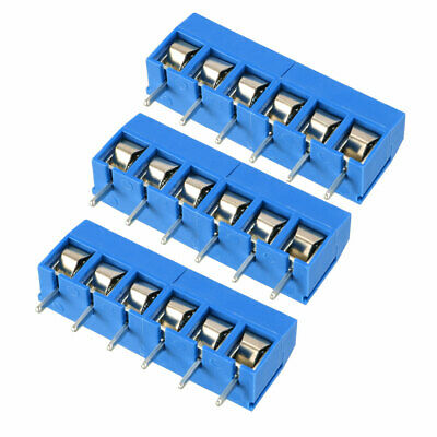 3Pcs AC300V 15A 5mm Pitch 6P Flat Angle Needle Seat Insert-In PCB Terminal
