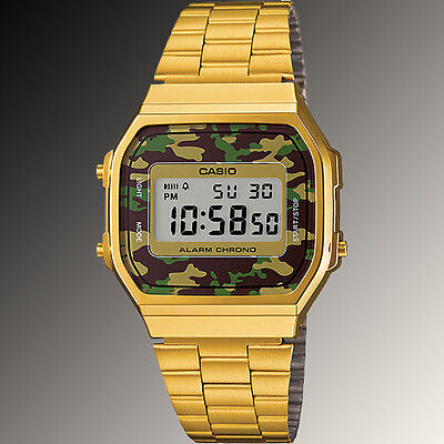 Casio A168WEGC-3 Men's Gold Stainless Steel Camouflage Watch Digital Alarm