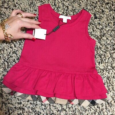 4 Years ( 3Y+) NWT Authentic Burberry Girls Top Pink Blouse Shirt Toddler Check