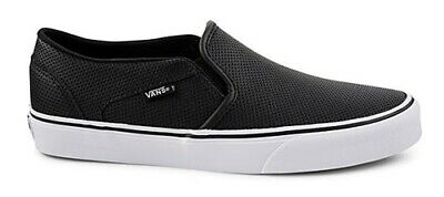 34797c6e5a5 Vans Asher Perforated Leather Slip Ons Sneakers Women Casual Skate Shoes Nib
