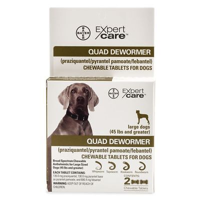 Bayer Expert Care Quad Dewormer Puppies & Large Dogs  over 45 lbs (2 tablets )