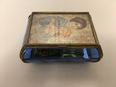 Mother and Child Glass & Brass Musical Jewelry Box Sankyo Plays Edelweiss