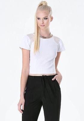 6b6dd561f9587 Bebe White Chiffon Inset Textured Cropped Crop Sexy Top New Nwt Xsmall Xs