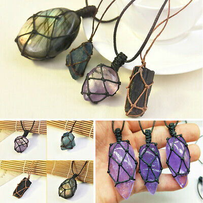 DIY Natural Quartz Crystal Pendant Chakra Healing Gemstone Moon Necklace Jewelry