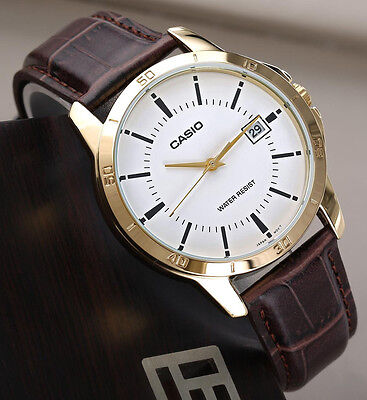 Casio MTPV004GL-7A Men's White Analog Watch Leather Band Gold Rim Brown New