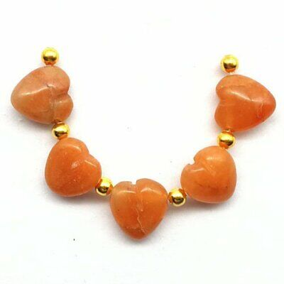 5Pcs/set Red Aventurine Heart Pendant Bead 13x12x7mm A62261
