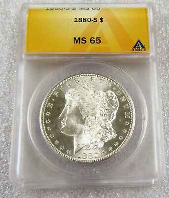 1880-S Morgan Silver Dollar ANACS MS65 Beautiful Bright White Gem Coin