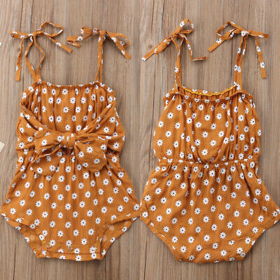 UK Newborn Toddler Baby Girl Summer Clothes Bow Romper Jumpsuit Outfits Sunsuit