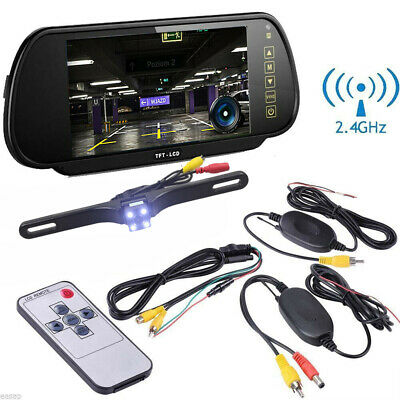 "Wireless 7"" Screen LCD Car RearView Mirror Monitor with HD Reverse Backup Camera"