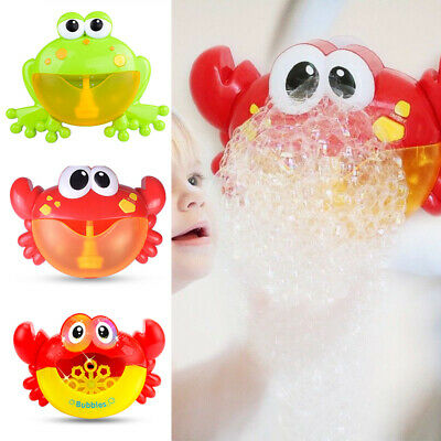 Musical Baby Crab Bubble Toy Frog Spout Machine Blower Maker Bath Tub Shower Toy