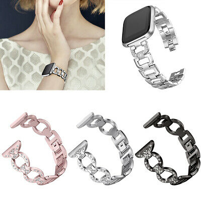 Metal Rhinestone Strap Wrist Band Replacement Bracelet For Fitbit Versa Sightly