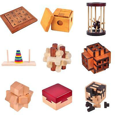 6PCS/SET WOODEN PUZZLE IQ Brain Teaser Burr Interlocking Puzzles