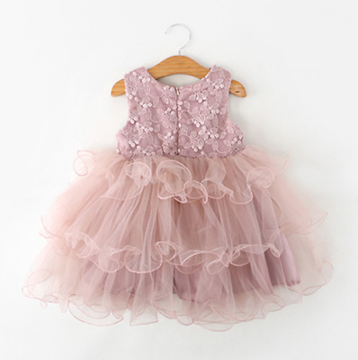 Toddler Kid Baby Girls Sleeveless Floral Tulle Tutu Party Pageant Princess Dress