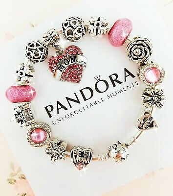 Authentic Pandora Bracelet Silver Bangle with Love Mother's Day European Charms