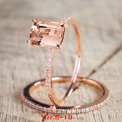 Women Jewelry 18K Rose Gold Plated Wedding Crystal Ring Size 5-12 US Stock