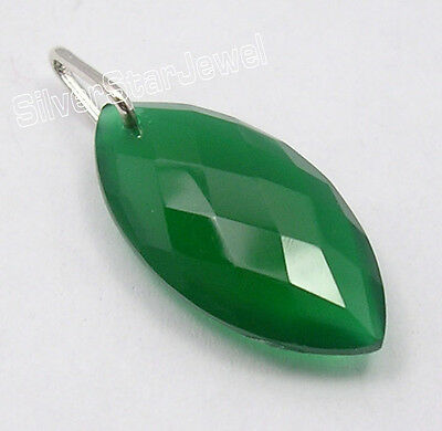 "925 Pure Silver High End GREEN ONYX STUNNING Pendant 1.1"" COMBINED SHIPPING"