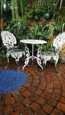 Vintage cast metal Pair Garden Chairs and Table