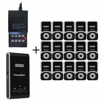 ATG100 Tour Guide Wireless System 99CH Transmitter+15x Receiver with Mic+Charger