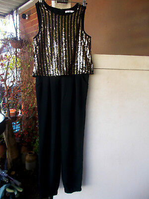 VINTAGE M&S GIRL/PETITE LADY ALL IN ONE JUMP SUIT EVENING/COCKTAIL GOLD TOP sz 8