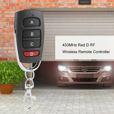 433MHz Red D 4-Buttons RF Wireless Transmitter Learning Remote Control Durable