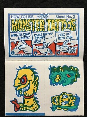 A&BC 1970 Monster Tattoos No.3 Unused Complete Transfer Sheet - See Description