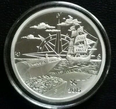 2015 Proof 1 Oz .999 Pure Silver Welcome To Finding Silverbug Island Round Coin