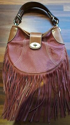 837833aad2 Vintage MULBERRY Fringed Bag Leather Cherry Oxblood   Tan Original RRP £695