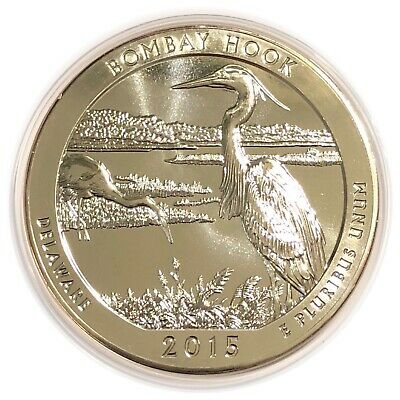 2015 America The Beautiful 5 Oz Silver Bombay Hook Delaware ATB
