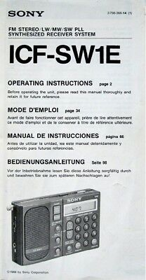 Sony Icf-Sw1 Radio Original Operating Instructions