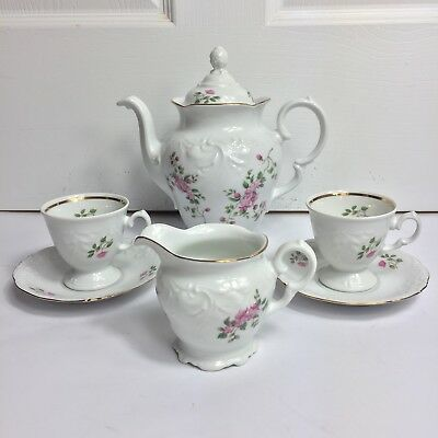 Wawel China Tea Rose Coffee Pot Creamer 2 Tea Cups 2 Sauers 6 piece Set Poland