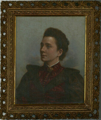 Framed 19th Century Oil on Printed Base - Portrait of a Victorian Lady