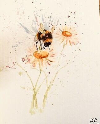 Original watercolour painting. Bumble bee and flower. Not a print. Signed