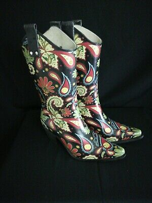 ae6e8fd0d4d NOMAD RAIN BOOTS Yippy Cowboy Abstract Floral Rubber Boots With Heel Size 6