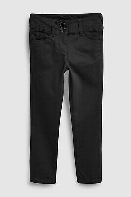 Next School Trousers 9y Girls Black Skinny Leg Jean Style Adjustable Waist