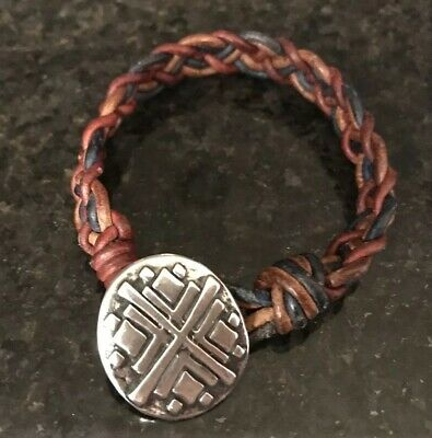8f9a5d2d9 James Avery Retired Braided Leather Bracelet Sterling Silver Clasp