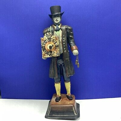 Cast Iron clock maker man doorstop Figure door stop 8.6 lb antique 1940 WWII ww2