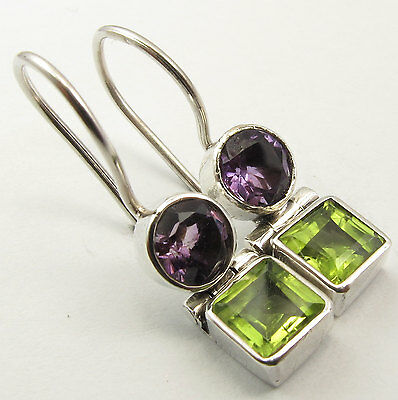 925 Silver Genuine AMETHYST & PERIDOT Earrings 1 inches SEMI PRECIOUS GEMSTONE