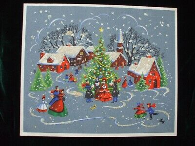 Vintage Christmas Card Victorian Village Scenes Tree Dog Unusual