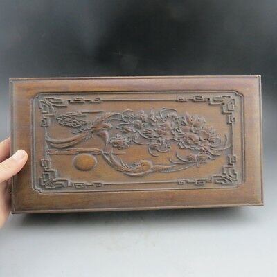 China,collectibles,manual,woodcarving,Flowers&birds,jewelry box&letter box B7