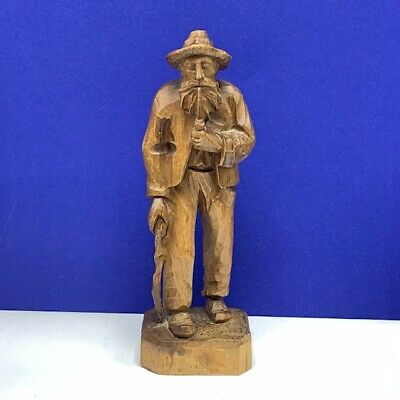 Wood carved Germany figure black forest beard man smoking pipe cane sculpture