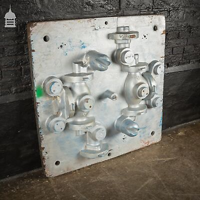 Vintage Industrial Foundry Mould Pattern with Silver Paint Finish