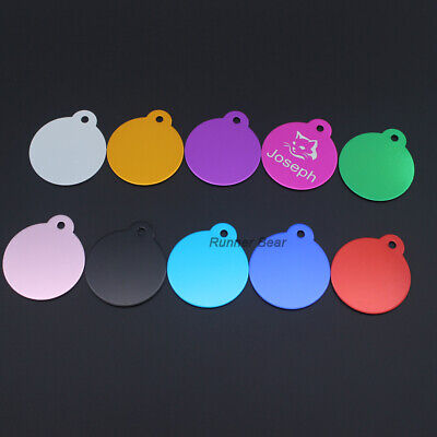 Cut Pet Tags Circle ID Dog Cat Tag 2 Sides Engraved Anti-lost Aluminum Pet Tag