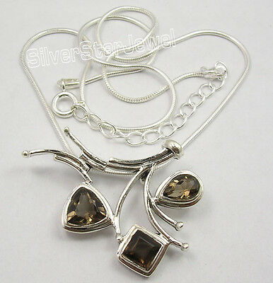 "925 Pure Silver CUT BROWN SMOKY QUARTZ Necklace 18.5 "" SEMI PRECIOUS GEMSTONE"