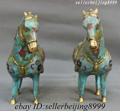 Collect China Bronze Cloisonne Fengshui 12 Zodiac Animal Year Horse Statue Pairs