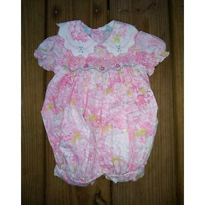 Vintage Bright Future Pink Yellow Floral Smocked Romper Bubble One Piece 0-3 mo